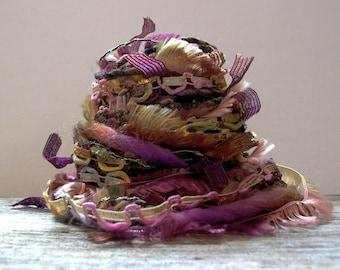woodland nymph fiber effects™  15yds novelty art yarn bundle wool ribbon embellishment textile fiber art pack . green brown purple