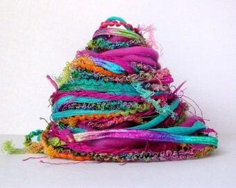 kaftan fiber effects™  art yarn bundle 12yd . ribbons art yarns wool roving mixed fiber art pack . magenta pink turquoise blue citron yellow