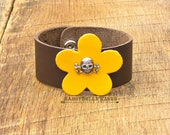 Skull and Crossbones Flower Leather Cuff Bracelet rocker girl chic fashion style brown sunshine yellow adjustable antique silver floral