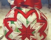 Handmade Christmas Quilted Ornament Red, White and Green Leaves