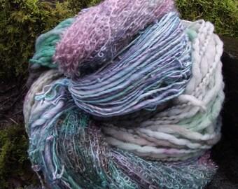 Handpainted handspun Yarn kit bundle, three skeins OOAK, bulky Merino, Silk,Mohair, Bamboo -Spring