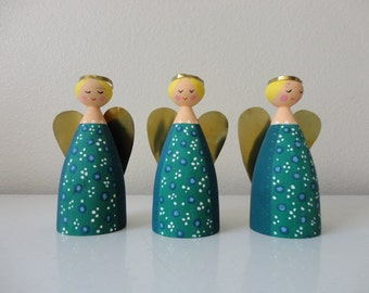 VINTAGE trio of hand crafted scandinavian ANGELS