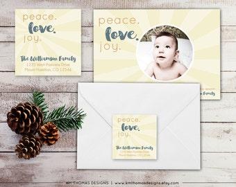 Peace Love Joy Return Address Label: Square Label - Holiday Return Address Label - Christmas Label - Ivory Return Address Sticker - WH131
