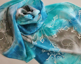 Hand Painted Silk Scarf - Handpainted Scarves Snowflakes Snow Blue Turquoise Aqua Gray Grey Silver White Winter