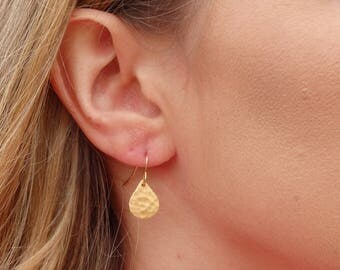 Modern Hammered Teardrop Earrings