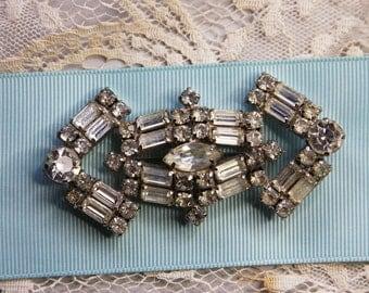Vintage RHINESTONE Brooch- Signed Piece- La-Rel- Vintage Jewelry- Large Pin- Costume Jewelry- Bridal Rhinestone Brooch