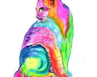 Cat print, Cat art, Rainbow art, Kitty art, Rainbow kitty, art by Marias Ideas art