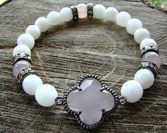 White Agate Bracelet, Pink Bezel Bracelet, Rose Quartz, Gemstone Bracelet, Beaded Bracelet, Stretch Bracelet, Womens Jewelry, Rhinestones