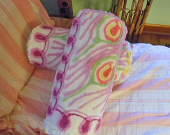 Vibrant CHENILLE PEACOCK FEATHERS Bolster Pillow Red Lavender Green Yellow Pink Roses 1940 Vintage Tufted Bedspread Soft Cotton 15 x 7 Comfy
