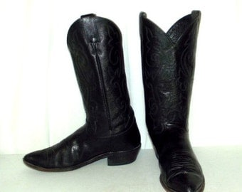ON SALE Distressed Black on Black Justin Cowboy Boots mens size 10 D / womens 11.5 western shoes