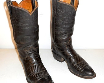 Mens 8.5 D Cowboy Boots Tony Lama Western Rockabilly Vintage Shoes Brown Leather