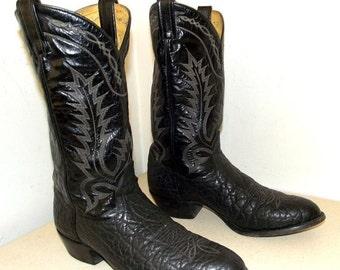 Rockabilly style Black Leather Western cowboy boots Tony Lama brand size 10 B