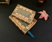 RESERVED: Two Natural Leather Journals with Tooled Decoration, Green, Handpainted - Granny's Treasure