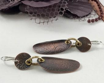 Mixed Metal Handmade Jewelry Earrings Tribal Earrings Mixed Metal Earrings Artisan Earrings Dangle Earrings Boho Jewelry  Metalsmith Jewelry