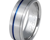 Thin Blue Line Titanium Band - Wedding Ring - Blue Custom Ring - b7