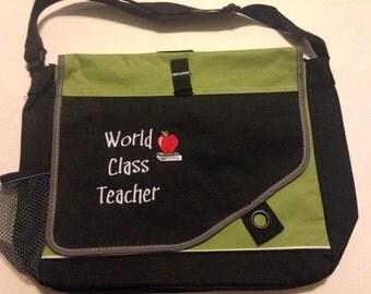 "Teacher Messenger Bag ""World Class Teacher"" Embroidered Great for Male or Female teacher"