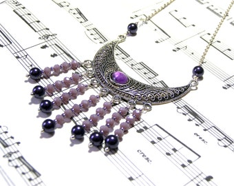 Plum Bib Necklace Bohemian Goddess Pendant Amethyst Pendant Beaded Jewelry Top Selling Jewelry Most Popular Jewelry