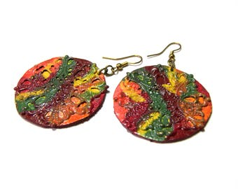 Large Bold Colorful Earrings Large Round Earrings Colorful Filigree Earrings for Women