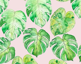 Tropical Leaves - Tropical Leaves On Pink By Ellas_Place - Summer Beach Leaves Cotton Fabric By The Yard With Spoonflower