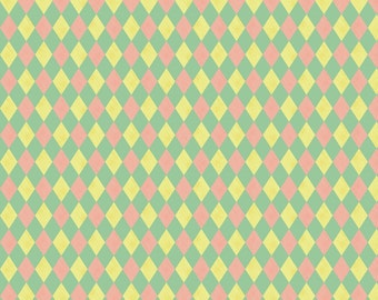 Pastel Harlequin Fabric - Harlequin- Mint By Mintgreensewingmachine - Pink Yellow Green Harlequin Cotton Fabric By The Yard With Spoonflower