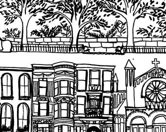 Nyc Fabric - Upper West Side - New York By Emilysanford - Nyc Cotton Fabric By The Yard With Spoonflower
