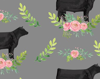Black Steer Fabric - Showstock Roses Steers By Thecraftyblackbird - Watercolor Farm Floral Cotton Fabric By The Yard With Spoonflower
