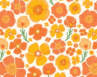 Watercolor Floral Fabric - Poppy Love By Bethschneider - Orange Watercolor Flowers Cotton Fabric By The Yard With Spoonflower