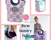 College Dorm Laundry tote , freshman dorm room , MEGA TOTE , laundry bin , personalized laundry bin , monogrammed laundry bag