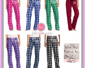 Monogrammed Teen lounge pants , personalized pajamas , sorority pants , dorm pants , ladies pajamas