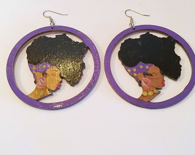 Featured listing image: African Queen Wood Earrings, Africa  Wood Earrings,,  Natural Hair Earrings Free Shipping