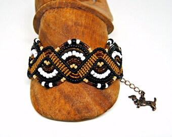Black and Tan Macrame Bracelet - Doxie Colored Micro Macrame Bracelet - Beaded Macrame Bracelet - Dachshund Bracelet