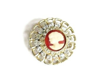 Vintage Molded Celluloid & Rhinestones Lady Cameo Brooch or Pin