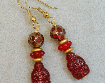 Vintage Buddha Bead Red German Pressed Glass Dangle Drop Earrings ,Vintage Red Gold Cathedral Glass,Vintage German Gold Glass Beads