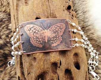 Butterfly Insect Etched Rosary Chain Bracelet