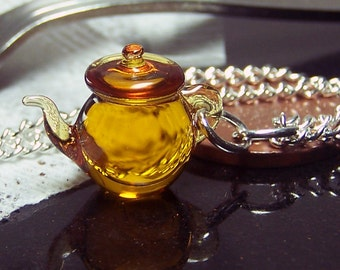 Amber Tea TeaPot Pendant - Tiny Teapot Lampworked Glass Necklace SRA
