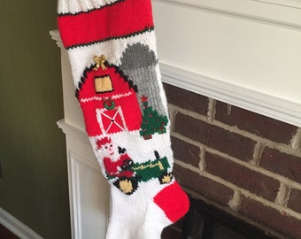 Hand Knit Christmas Stocking with Santa on the Farm