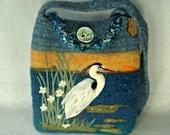 MY BIRTHDAY SALE Felted Purse, Felted Handbag, Felted Tote, Heron Art, Great Blue Heron, Needle Felt Bird