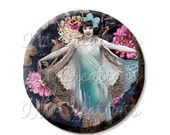 "15% OFF - Pocket Mirror, Magnet or Pinback Button - Wedding Favors, Party themes - 2.25""- Vintage 1920s Dainty Girl MR112"