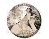 "15% OFF - Pocket Mirror, Magnet or Pinback Button - Wedding Favors, Party themes - 2.25""- Art Deco 1920s Flapper Smoker MR365"