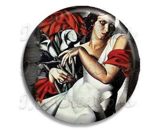 "Vintage Art Deco Lempicka Ira Perrot Pocket Mirror, Magnet or Pinback Button - Favors - 2.25""- MR374"
