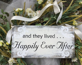 And they lived happily ever after, weddings, wedding decor, ring bearer pillow, wagon sign, bike sign