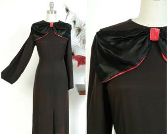 Vintage 1930s Dress - Dramatic Matte Black Rayon Crepe and with Huge Glossy Satin Pink Trimmed Bow and Full Sleeves
