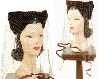 SALE - Vintage 1940s Hat  - Stunning Brown Velvet Bicorn Turban with Pointed Corners with Massive, Decadent Cage Veiling