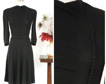 Vintage 1930s Dress - Chic Rayon Late 30s - Early 40s Button Accented Little Black Dress with Peaked Shoulders
