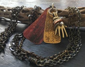 Layered, Mixed Metals Hand Pendant