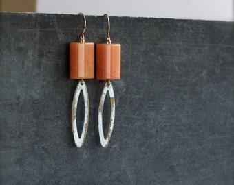 ON SALE Boho Earrings - Orange Aventurine Stone, Gold Brass, White Wash Patina Oval Dangle