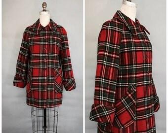 1960's red wool plaid coat