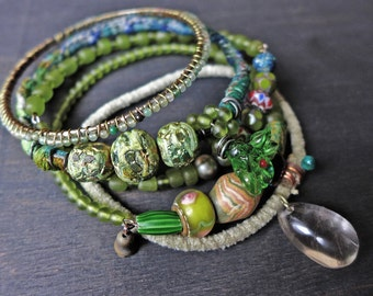 "Rustic bangle stack in apple green. Beaded stitched textile bohemian bracelet set ""New Beginnings"""