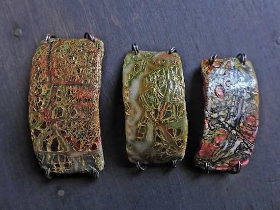 Polymer clay bracelet connectors with crackle. Rustic jewelry elements, your choice of three.