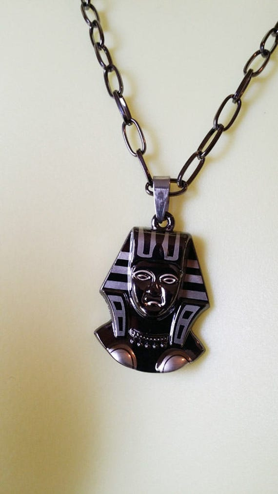 "black EGYPTIAN NECKLACE pendant necklace 20"" black chain unisex goth jewelry egypt queen metal pendant handmade jewelry"